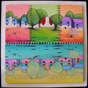 "House and Home by Kathi Taylor 18"" x 18"", acrylic on wood, satin cording Created for Kent Street Family Home Children's Hospital Boston"